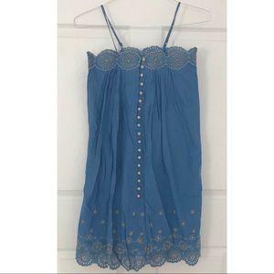 NWT Gap Girls Blue Embroidered Dress